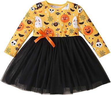 Toddler Kids Baby Girls Thanksgiving Turkey Cartoon Print Dress Princess Outfits