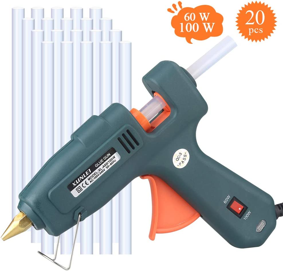 Hot Glue Gun, Powerful 60/100W Glue Gun Kit with 20PCS Glue Sticks, Professional Hot Melt Glue Gun, Perfect for Heavy Duty, DIY Project, Home & Office Quick Repair, Arts and Crafts, Christmas Decor