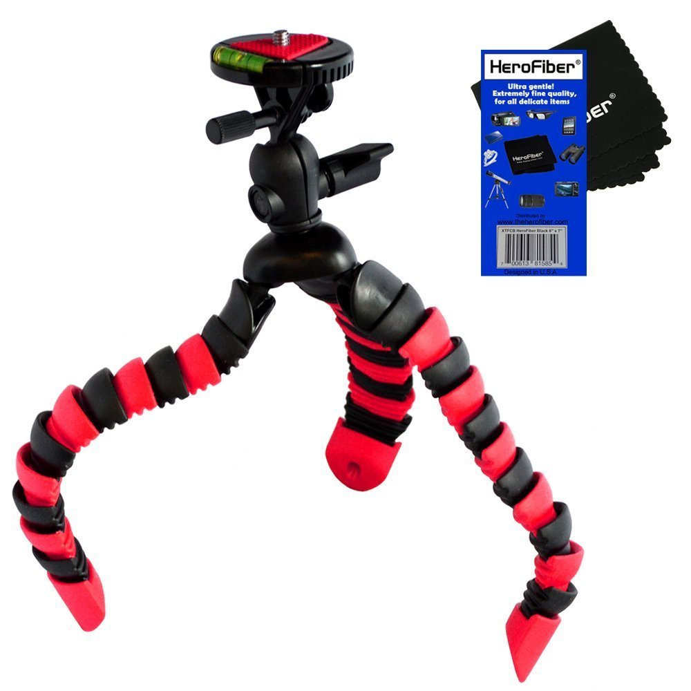 12'' Flexible Wrapable Legs Tripod with Quick Release Plate and Bubble Level (Red/Black) for Sony Alpha NEX-3N, NEX-5T, & NEX-5R, & NEX-F3 Interchangeable Lens Digital Cameras w/ HeroFiber Ultra Gentle Cleaning Cloth by HeroFiber