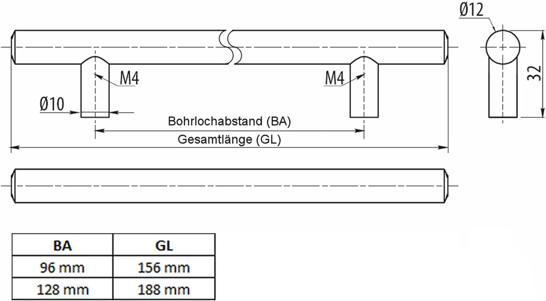 5 St/ück SO-TECH/® Stangengriffe G1 M/öbelgriffe Schubladengriffe massiv wei/ß BA 96 mm