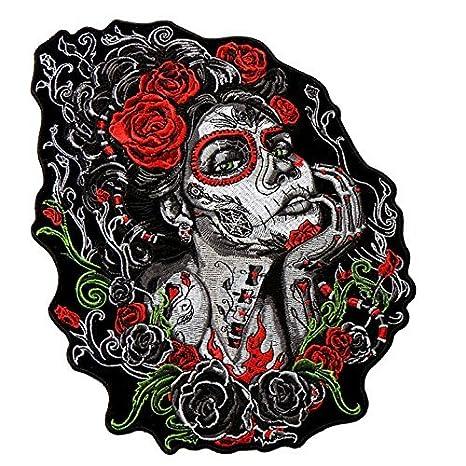 Enorme León Flores Apliques Bordados Patch Hierro en en forma de calidad increíble