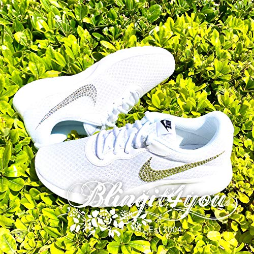 Shoes With Swarovski Crystals - HANDMADE Beedazzled Swarovski crystal Bling Nike Swooshes Logo for White women Nike Tanjun shoes