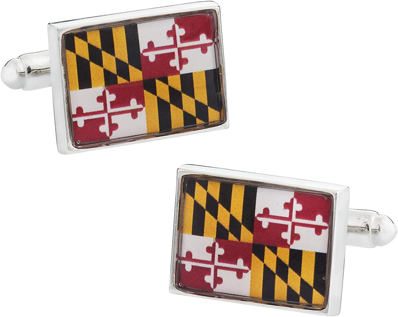 Maryland Flag Cufflinks with Presentation Gift Box