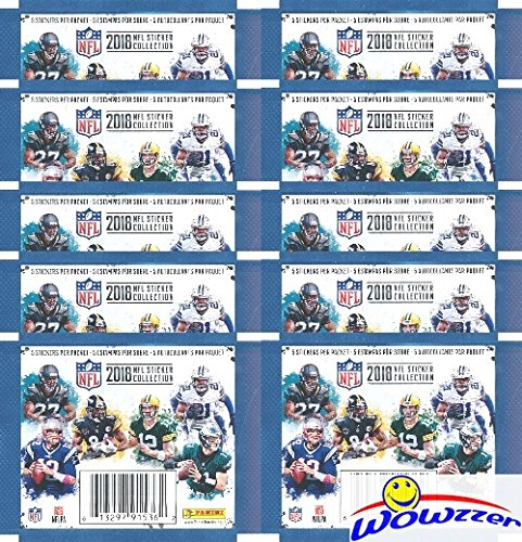 Stickers Nfl (2018 Panini NFL Football Stickers Collection with 10 Factory Sealed Sticker Packs & 50 MINT Stickers! Look for Stickers of NFL Superstars & Rookies Including Tom Brady,Todd Gurley,Aaron Rodgers & More)