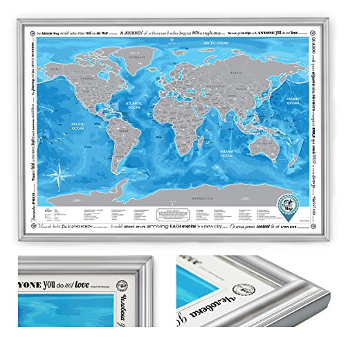 Framed World Map with Scratch off & Stickers, Large Size, Traveler Gift (Silver Frame) (Large Detailed World Map Poster compare prices)