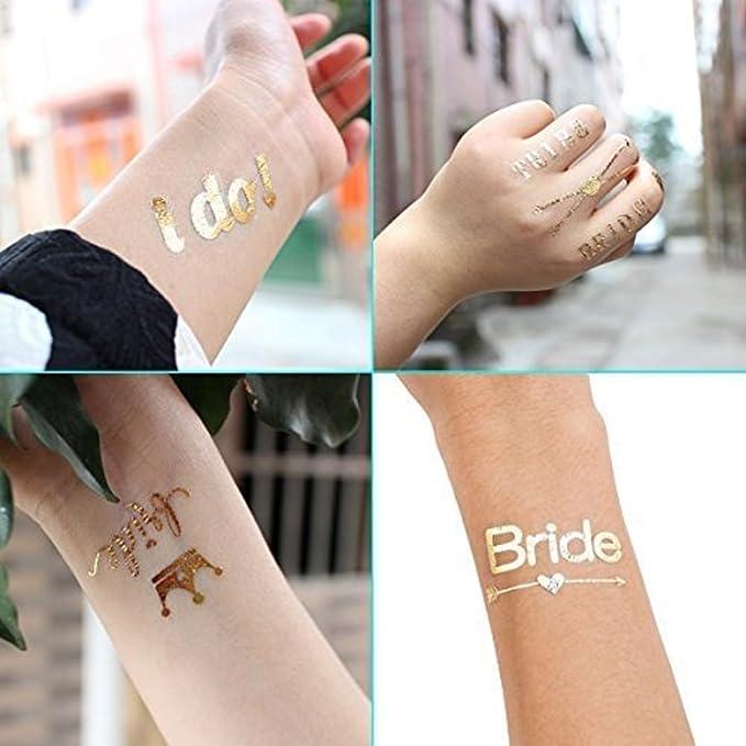 Tatuajes para despedida de soltera, diseño de novia temporal, impermeables, dorado, plateado, metálico, para boda, noche, bachelorette, fiesta, accesorios de regalo, 3 hojas: Amazon.es: Belleza