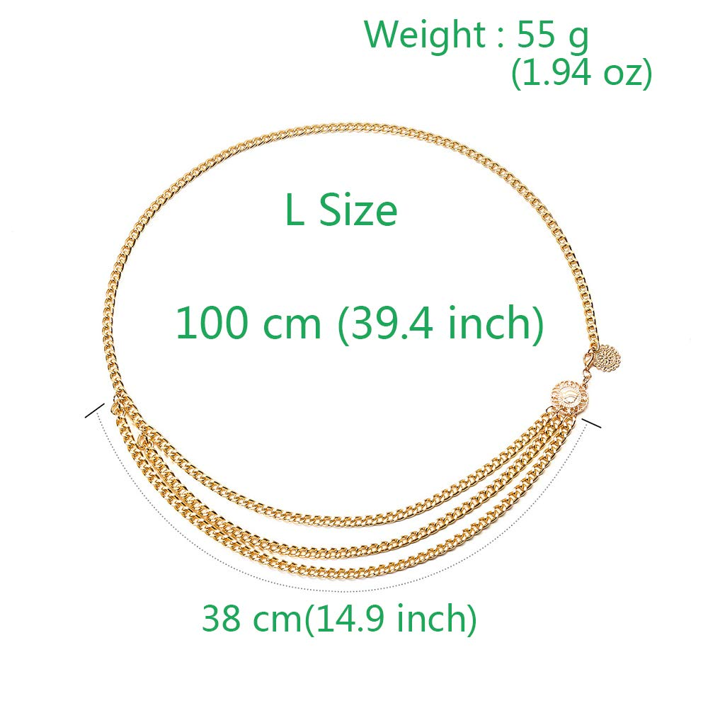 Gold 0408 Jurxy Multilayer Alloy Waist Chain Body Chain for Women Waist Belt Pendant Belly Chain Adjustable Body Harness for Jeans Dresses