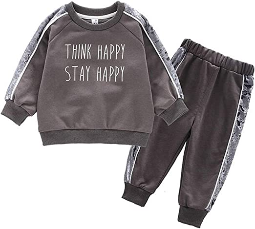 Two-Pieces Set FTSUCQ Girls Letter Printed Pullover Tracksuit Sweatershirt