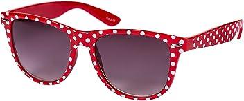 """SIX """"Trend Retro Sonnenbrille in klassischem Rot mit weißen Polkadots (341-633)"""