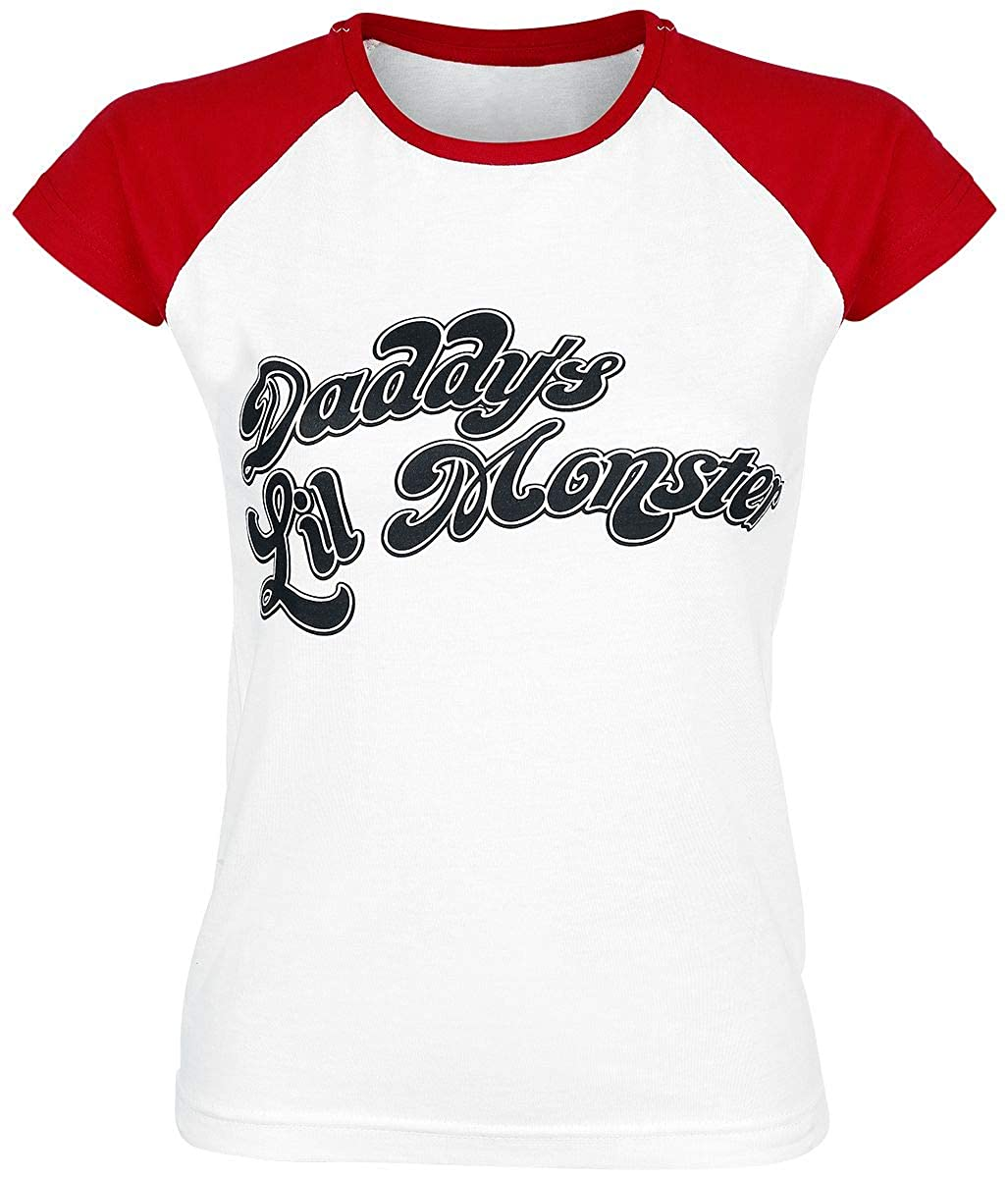 TALLA XL. Suicide Squad Shirt Daddys Lil Monster Baseball Oficial de Las Mujeres Skinny