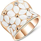 Epinki Wedding Ring for Women Girls Gold Plated Women Wedding Bands Colorful White Flowers Cubic Zirconia Ring