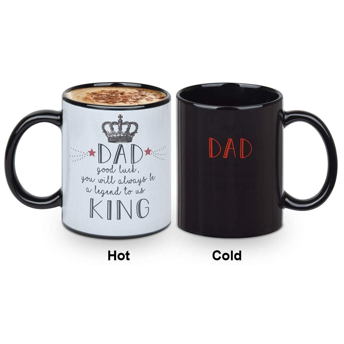 Father's Day Gift - Heat Sensitive Coffee/Tea Mug 12 Ounce Ceramic Tea Cup with Funny Warm Regards, Ceramic Color Changing Coffee Mugs, Birthday Gifts for Dad