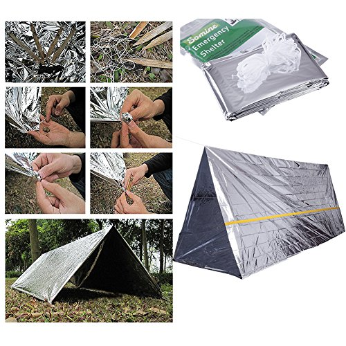 Emergency Foil Mylar Thermal Blanket (Pack of 8), Aluminum Blanket Foil Space Blanket: Designed for NASA – Perfect for Hiking, Survival, Marathons or First Aid (1 Tent+2 Sleep bags+5 Blankets) by TRSCIND (Image #3)