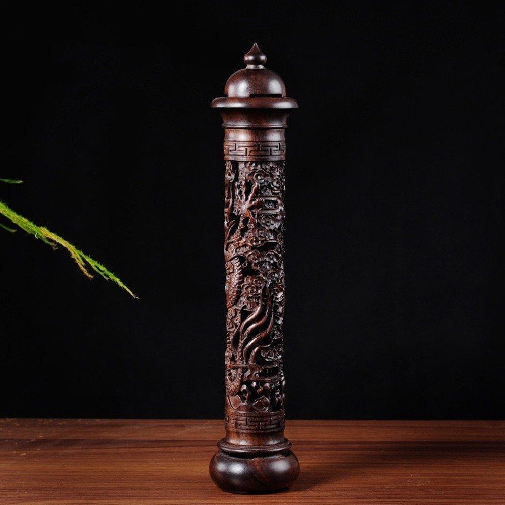 Ebony Wood Dragon Sculpture Stick Incense Burner Wood Pomades Joss Sticks Incense Holder Handmade Censer Aromatherapy Furnace (Black)