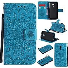 "Motorola Moto G(2rd Gen)case,Moto G2(5.0"")case,Bujing Blue Embossed Sunflower Pattern,Synthetic Leather+Soft TPU Hand Strap Card Slot Stand Wallet Case Only For Motorola Moto G (2nd gen)(5.0"")(2014)"