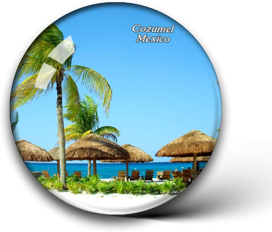 Jollin Mexico Beach Cozumel Fridge Magnets Clear Crystal Glass for Refrigerator City Travel Souvenirs Funny Whiteboard Home Decorative Sticker Collection Gifts Round Magnet