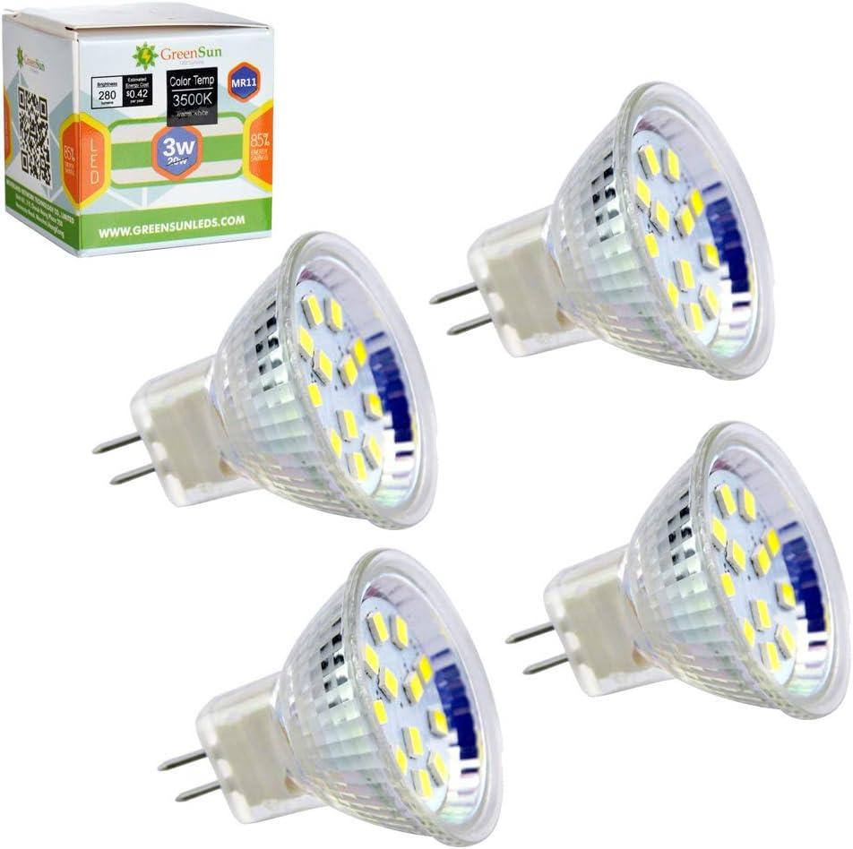 GreenSun LED Lighting MR11 GU4 la bombilla LED spot gluehbirne Foco Bombilla Lámpara AC/DC 12 V, incluida Spotlight