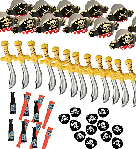 Pirate Party Set -12 Pirate Hats,Patches ,Swords,Telescopes - Funny Party (Pirate Party Costume)