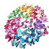 JPSOR 72PCS 3d Butterfly Wall Stickers 3d Butterfly Wall Decals Butterfly Magnets ,12pcs Blue 12pcs Purple 12pcs Green 12pcs Yellow 12pcs Pink 12pcs Red, Durable Plastic Butterfly Decorations, wall Decor