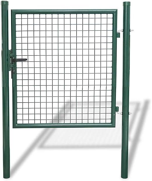 Hengda puerta de jardín Portal Simple asa de acero inoxidable bisagras galvanizadas y regulables Metal engrener valla rejilla metálica con cerradura malla metálica Kit completo para valla, 100 x 100cm Rond Vert: