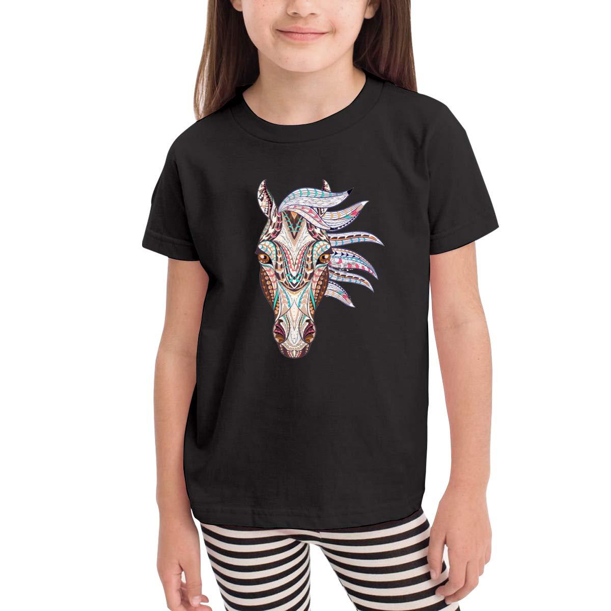 Kids T-Shirt Tops Black Colored Geometry Horse Unisex Youths Short Sleeve T-Shirt