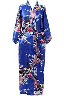 J.ROBE Women s Kimono Robe Long Printed Lotus Kimono Robe Silk with Pockets c01c5add5