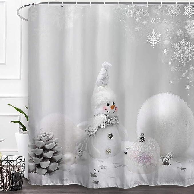 Amazon Com Baccessor Happy Snowman Christmas Shower Curtains Fabric Shower Curtains With Hooks Merry Christmas Xmas Decoration Home Decor 60 W X 72 H 150cm X 180cm White Christmas Ball Snowman Home Kitchen
