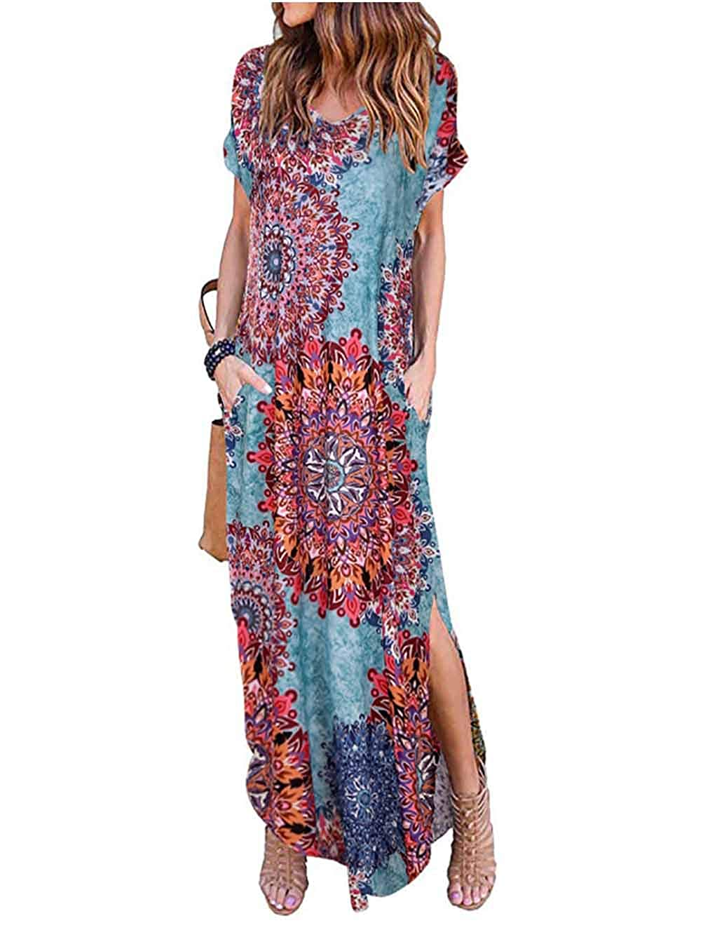 iChunhua Womens Summer Floral Split Maxi Dresses with Sleeves