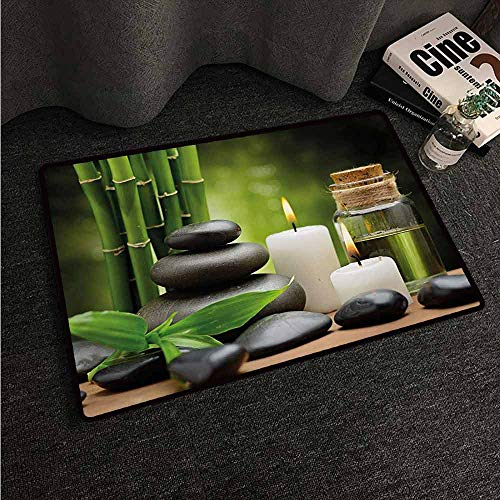 HCCJLCKS Welcome Door mat Spa Hot Massage Rocks Combined with Candles and Scents Landscape of Bamboo Print Super Absorbent mud W30 xL39 Green White and Black