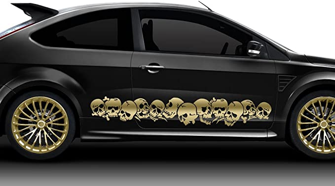 Grandora Autoaufkleber Totenköpfe 2er Set Auto Tuning Sport Tattoo Gold X7155 Auto