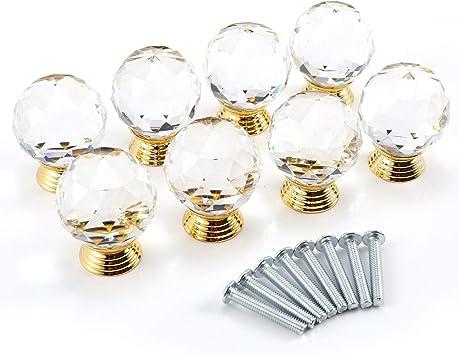 30mm clear Cut crystal alloy gold base cabinet drawer handle knob screw