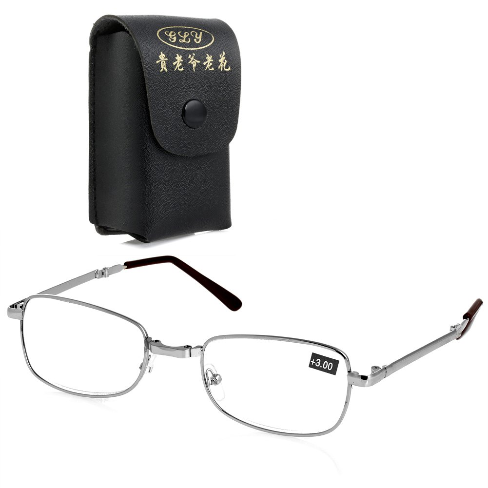 Magicub Folding Metal Reading Glasses +1.0 1.5 2.0 2.5 3.0 3.5 4.0 Diopter + Case