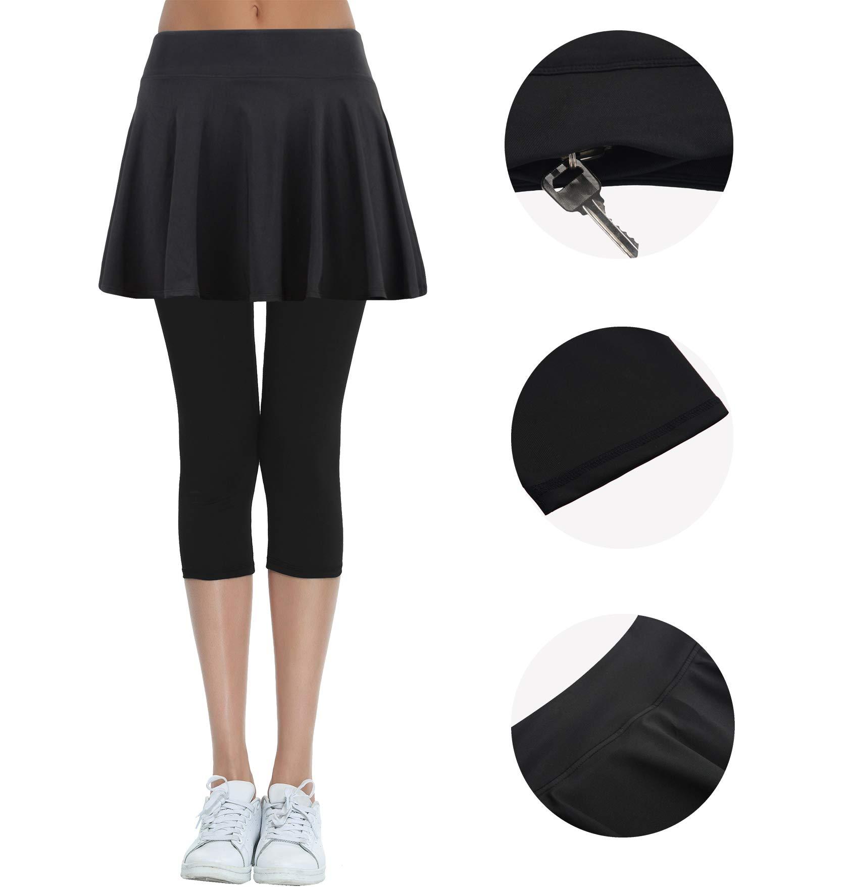 HonourSport Women's Skirted Capri Leggings, Active Tennis Printed Skorts(Black,S)