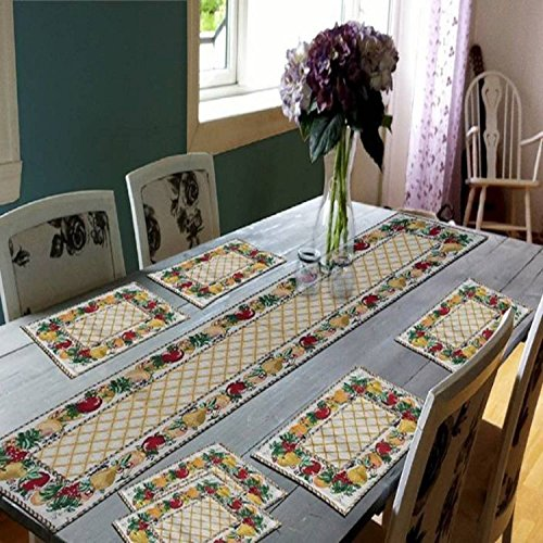 Galaxy Home Decor Fabric Dining Table Runner with 6 Mats (Multicolour, Table Runner 02) – Set of 7 Price & Reviews
