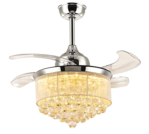 Amazon 7pm retractable ceiling fans 36 inch crystal invisible 7pm retractable ceiling fans 36 inch crystal invisible chandelier fan with remote control dimmable led light aloadofball Images