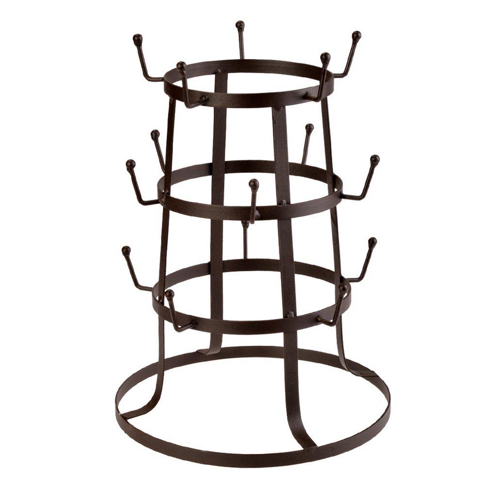 Anfan Steel Mug Tree Holder Organizer Rack Stand ,Brown Iron Mug/Cup/Glass Bottle Organizer Tree Drying Rack Stand