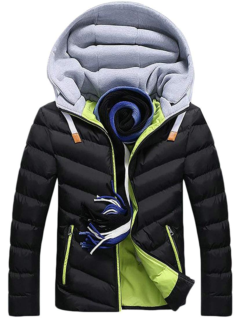 XTX Mens Winter Warm Color Block Quilted Down Jacket Hooded Parka Coat
