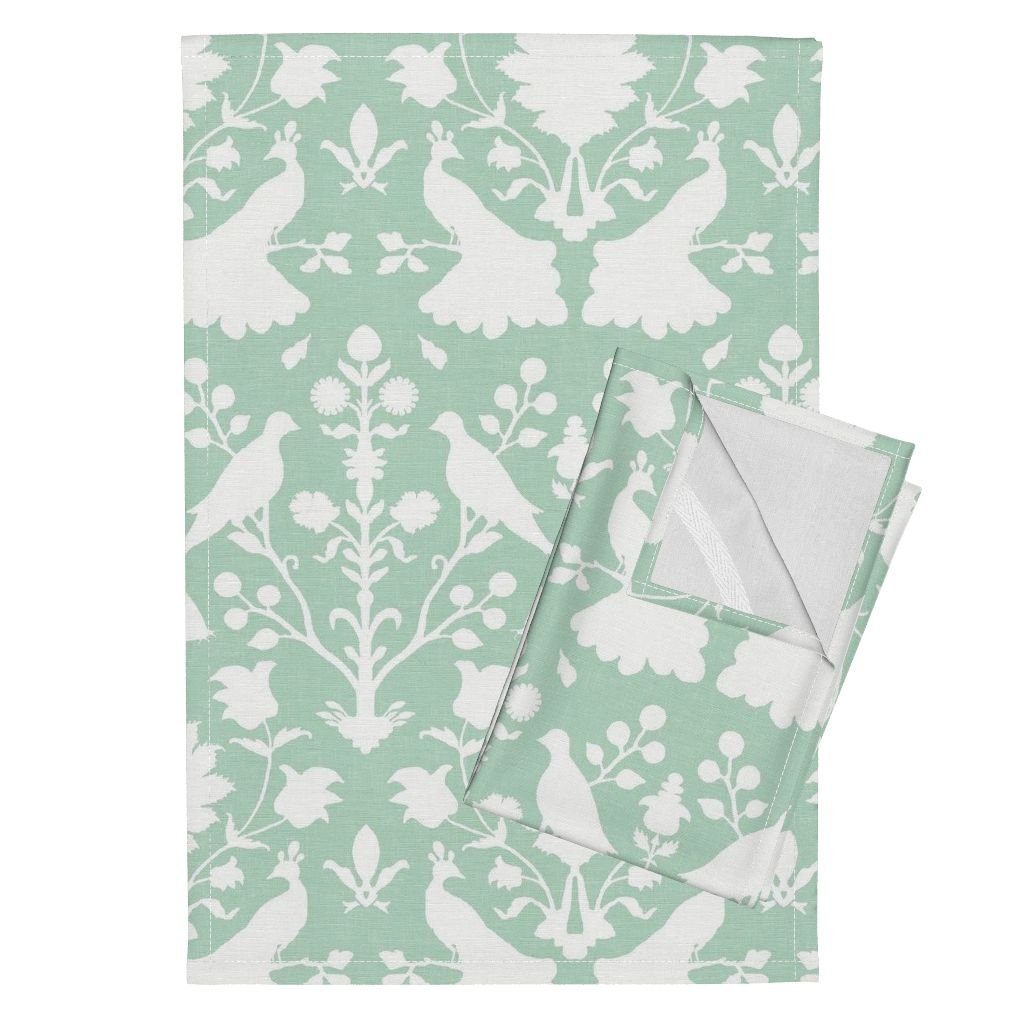 Roostery Birds Peacocks Damask Floral Linen Mint Spa Tea Towels Oiseaux in Mint by Willowlanetextiles Set of 2 Linen Cotton Tea Towels