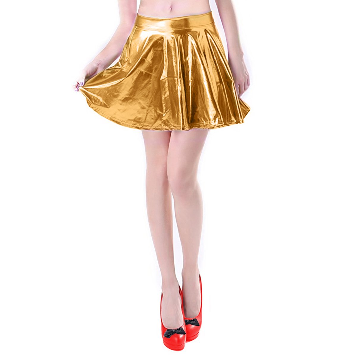 Mother's Day Gifts Pleated Skirt Short Shiny Liquid Metallic Flared Skater Skirt Golden, Small