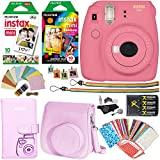Fujifilm Instax Mini 9 Instant Camera (Flamingo Pink), 1 Rainbow Film Pack, 1 Single Pack (White) Instant Film, case , 4 AA Rechargeable Battery's with charger, Square Photo Frames & Accessory Bundle