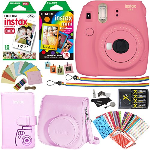 Fujifilm Instax Mini 9 Instant Camera (Flamingo Pink), 1 Rainbow Film Pack, 1 Single Pack (White) Instant Film, case , 4 AA Rechargeable Battery's with charger, Square Photo Frames & Accessory Bundle by Ritz Cameras