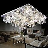 Jiuzhuo Modern Clear Crystal LED Chandelier Lighting Square Flush Mount Ceiling Light (Medium)