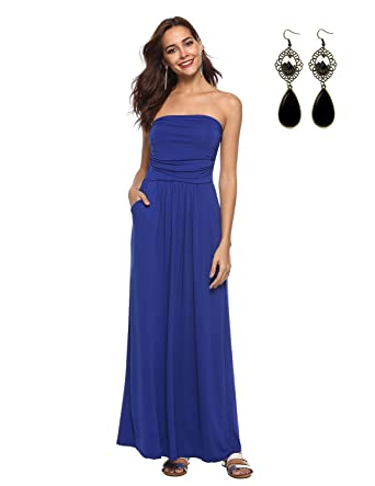 dc06427e5cbb WAEKIYTL Women s Strapless Maxi Dress with Pocket Casual Long Tube Dresses  for Evening Party Royal Blue
