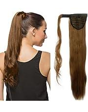 "23""(58cm) Coleta Postiza de Pelo Sintético Liso con Clips Extensiones de Cabello Invisible y Natural Ponytail Hair Extension (90g,Castaño Claro)"