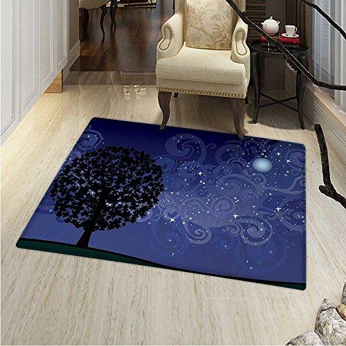 (Starry Night Dining Room Home Bedroom Carpet Floor Mat Tree on a Hill Star Filled Sky Moon Milky Way Galaxy Non Slip Rug 5'x6' Indigo Charcoal Grey Black)