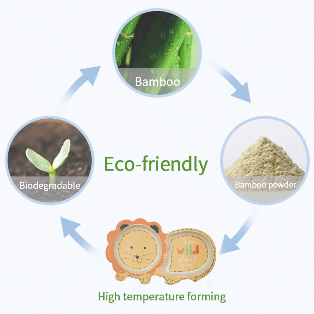 Assiette B/éb/é Forme Animale du Zoo,Chouette Chouette Vaisselle Enfant Bambou sans BPA,10 Mois+ Assiette /à Compartiment 2PCS