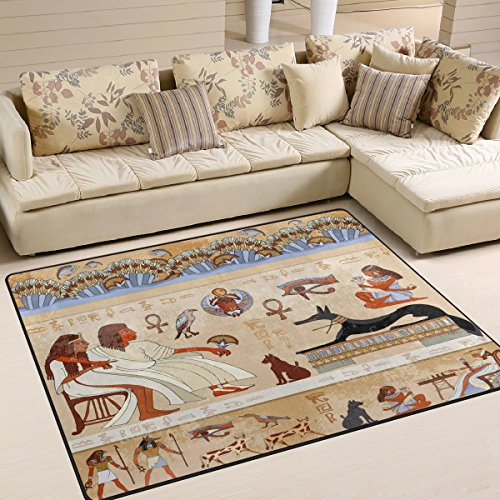 ALAZA Ancient Hieroglyph Egyptian Culture Area Rug Rugs for Living Room Bedroom 7' x (Ancient Egyptian Furniture)