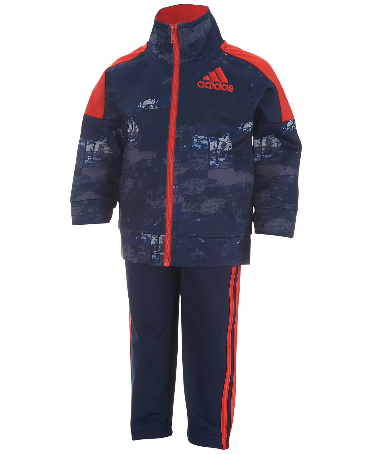 Adidas Boy's 2 Piece Elemental Track Suit (3T, Dark Indigo (410) / Red/Dark Indigo) by adidas