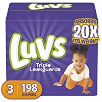 Diapers Size 3, 198 Count - Luvs Ultra Leakguards Disposable Baby Diapers, ONE MONTH...