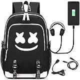 Luminous Backpack Travel Bag Bookbag Laptop Backpack with USB Charging Port (A)